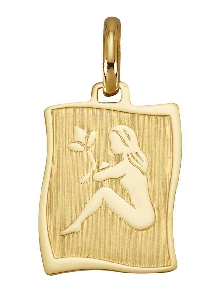 """Amara Or Pendentif avec signe du zodiaque """"Vierge"""" en or jaune 585, Coloris or jaune"""