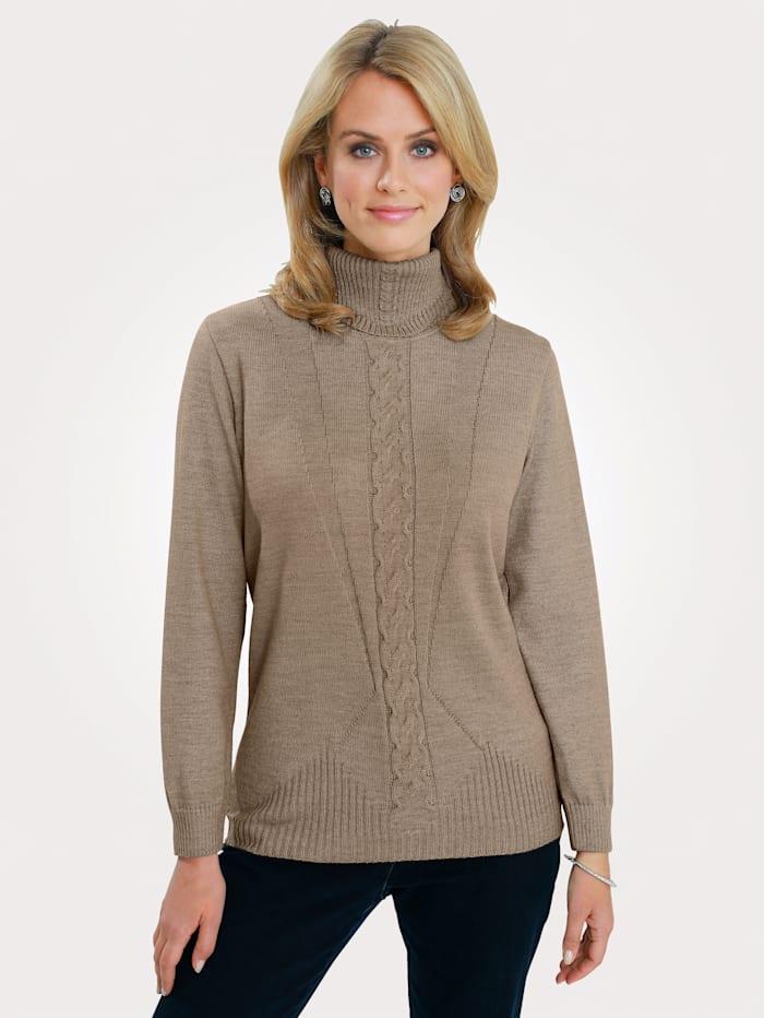 MONA Pullover mit Zopfmuster, Beige