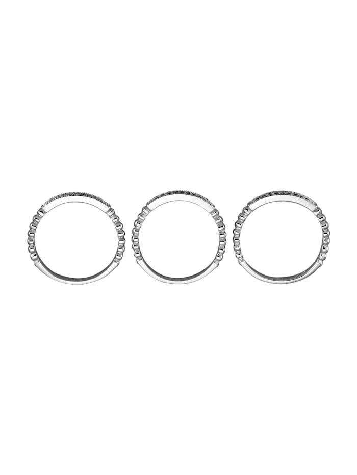 3-delige set damesringen van echt zilver