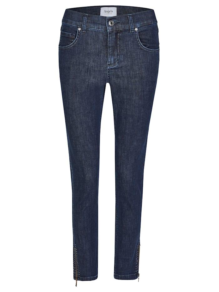 Angels Jeans ,Skinny Ankle Zip Shine' mit modischen Details, dark indigo