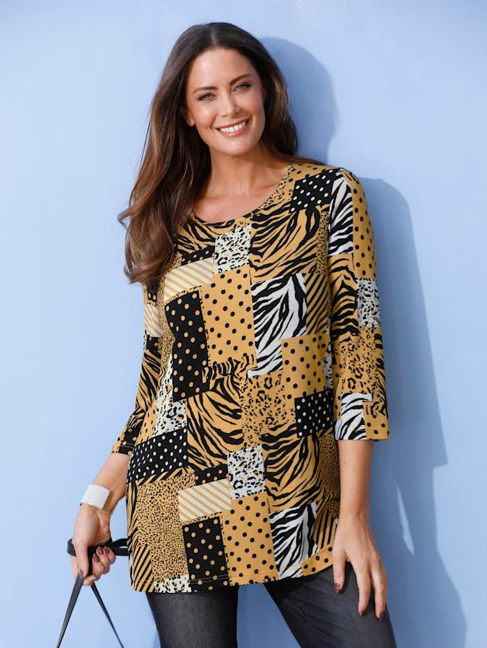 MIAMODA Shirt met patchworkdessin, Geel/Wit/Zwart