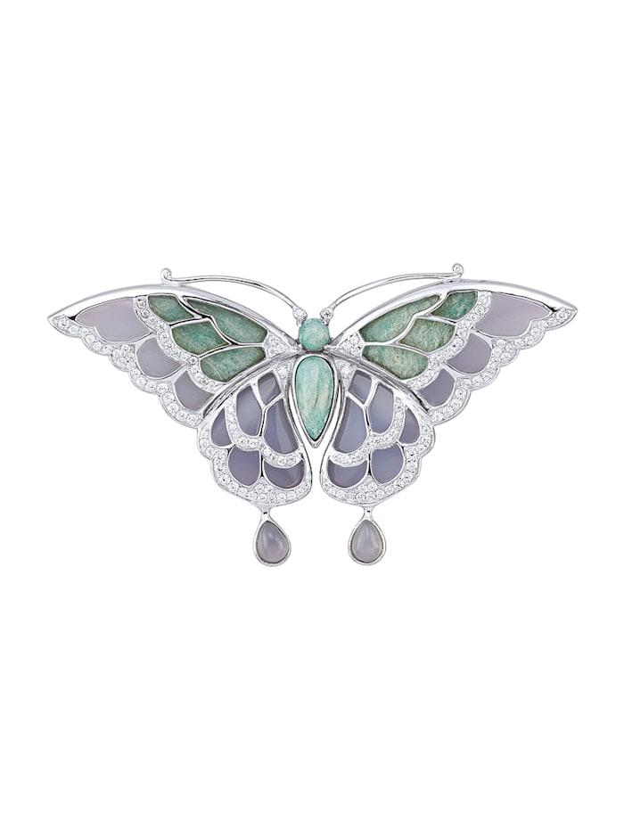 Fjärilsbrosch i silver 925 med vackra stenar, Grön