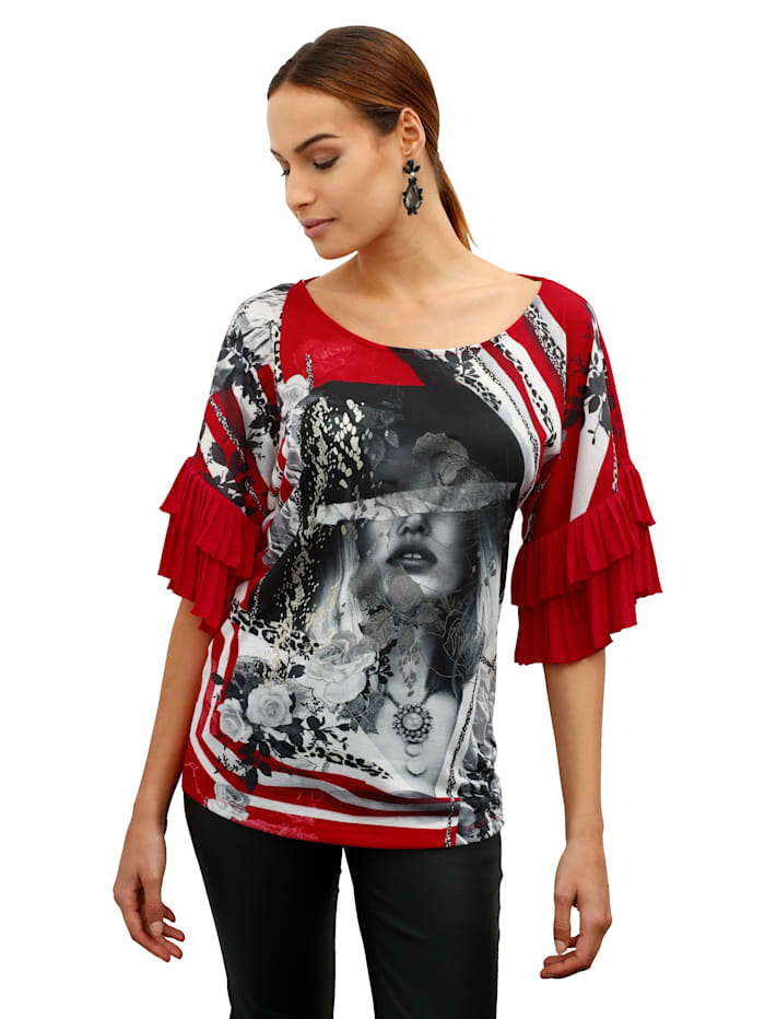 AMY VERMONT Shirt met plissé aan de mouwen, Rood/Zwart/Grijs