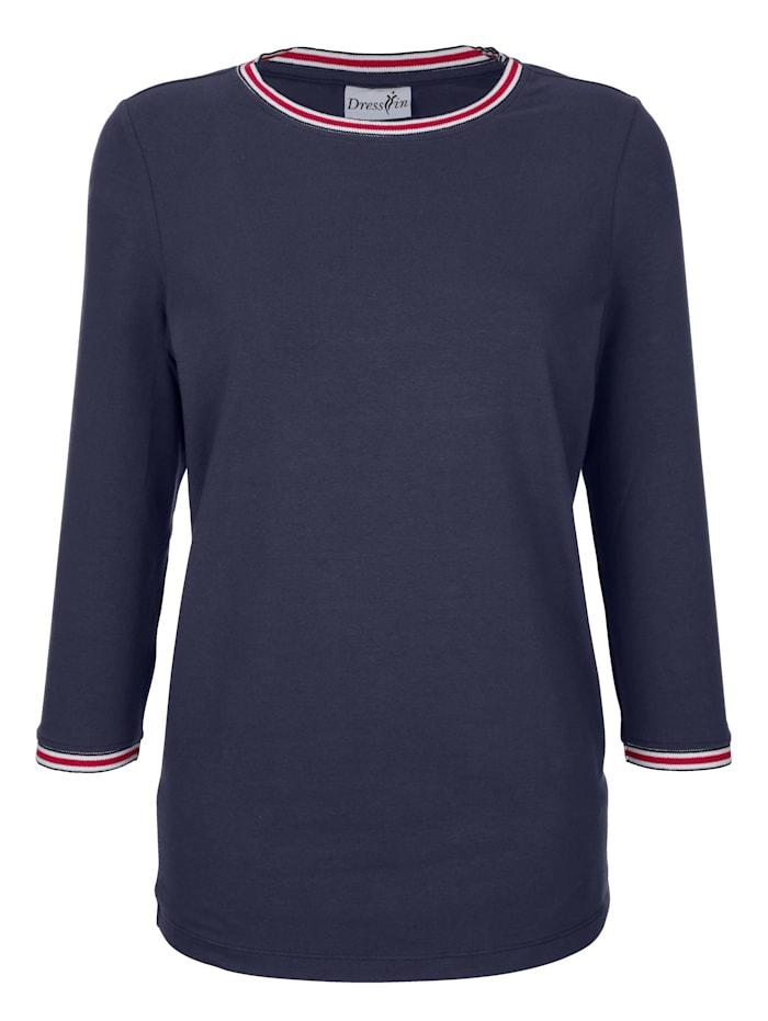 Dress In Shirt mit Rippsbündchen, Marineblau
