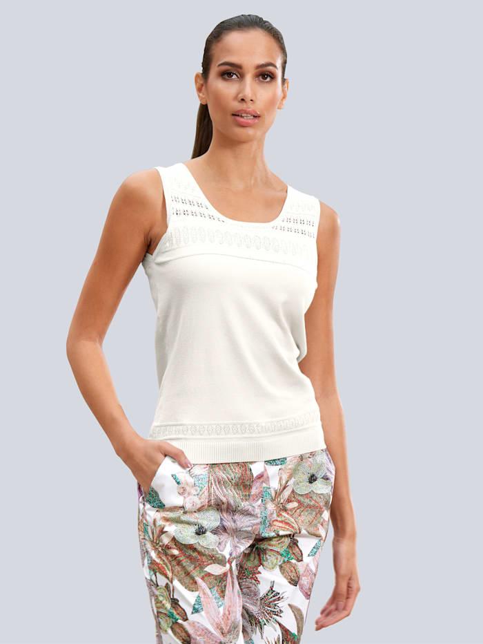 Alba Moda Stricktop mit elegantem Ajour-Einsatz, Off-white