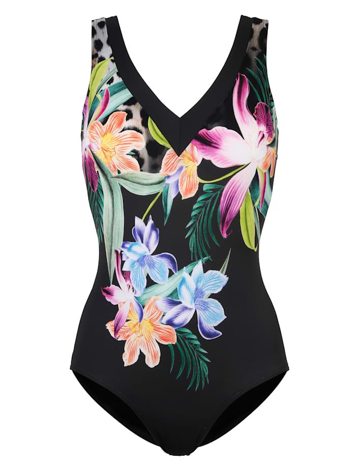Sunmarin Badeanzug mit floralem Druck in tollen Farben, Schwarz/Cyclam/Grün