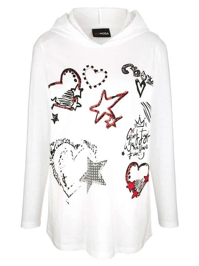 MIAMODA Dlouhé tričko s dekorativní mesh kapucí, Bílá/Červená/Černá