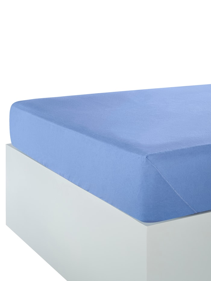 Webschatz Biber Spannbettlaken mit Sanforausrüstung, blau