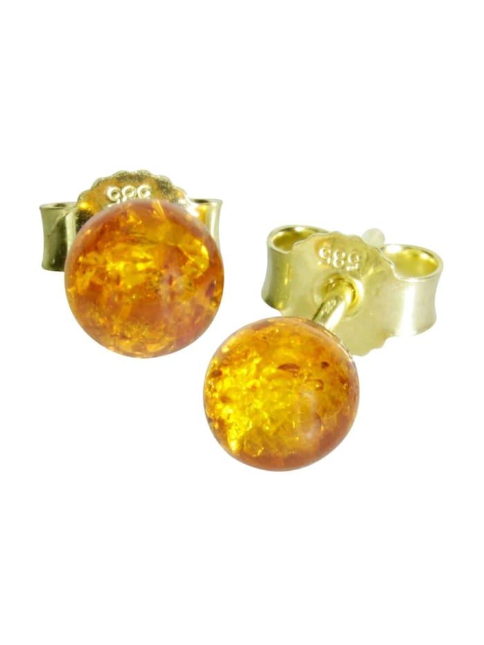 OSTSEE-SCHMUCK Ohrstecker - Klassisch 6 mm - Gold 585/000 - Bernstein, gold