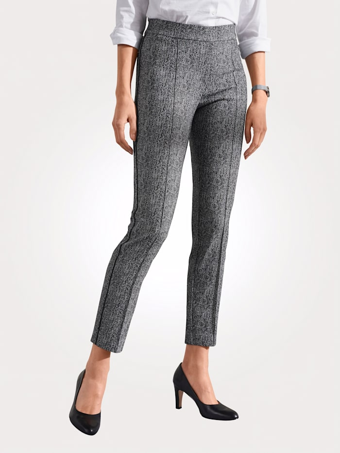 Toni Pantalon à passepoils allongeantes, Noir/Blanc