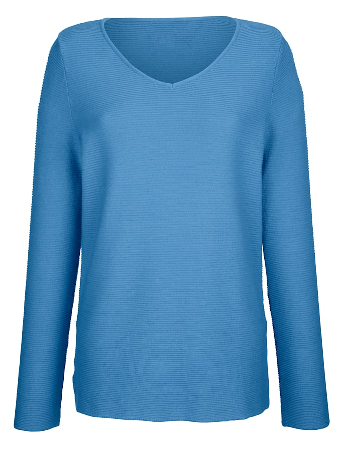 Dress In Pull-over Encolure en V, Bleu