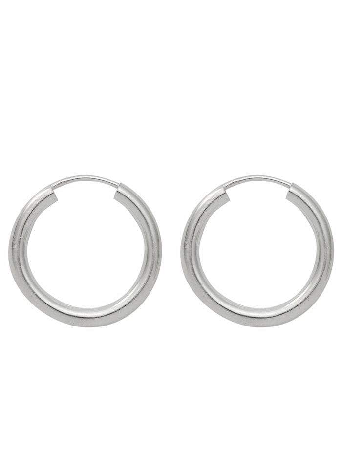 1001 Diamonds Damen Silberschmuck 925 Silber Ohrringe / Creolen Ø 20 mm, silber