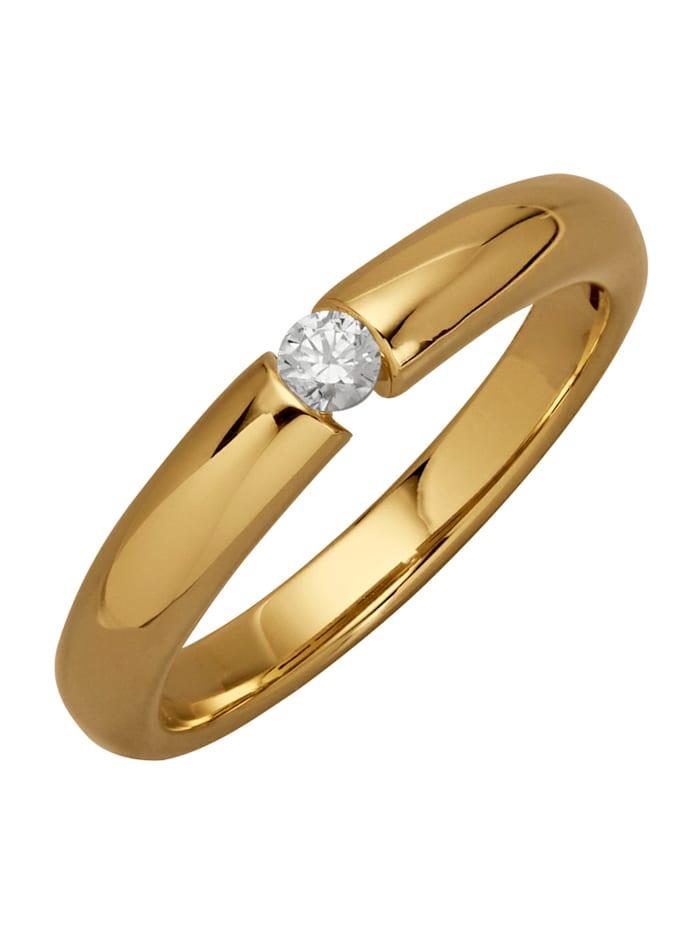 Solitär-Ring mit Brillant, Gelbgoldfarben