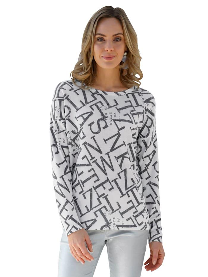 AMY VERMONT Pullover mit grafischem Muster allover, Grau/Schwarz