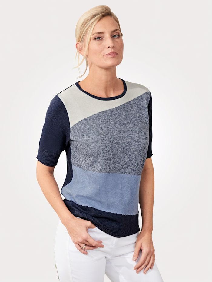 MONA Pullover in Colour-Blocking Optik, Blau/Ecru