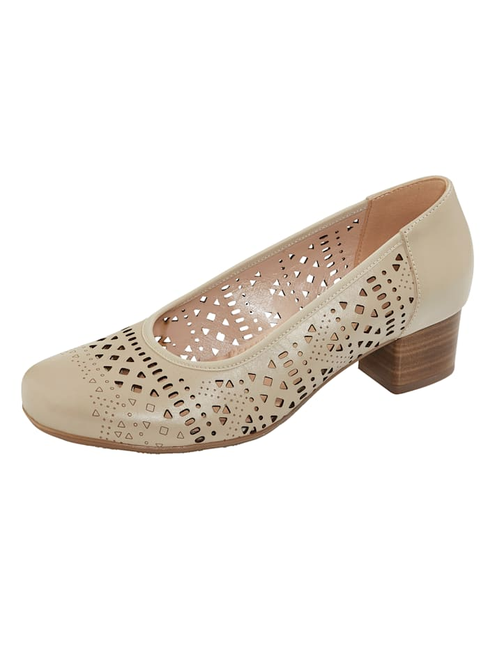 Naturläufer Pump met zomerse perforaties, Beige
