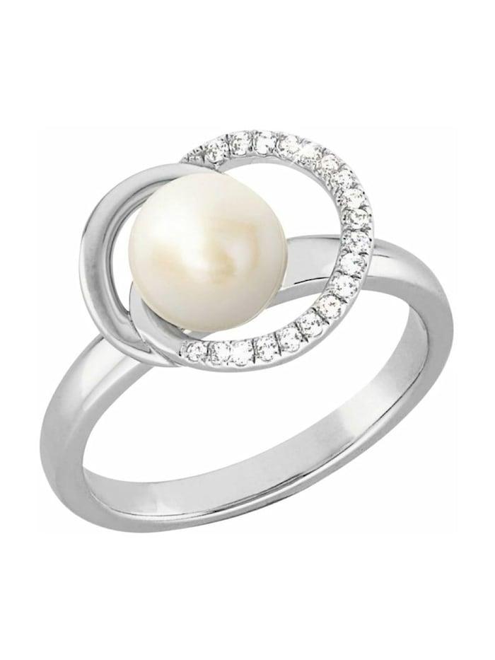 JOOP! Ring für Damen, Sterling Silber 925, Süßwasserzuchtperle, Silber
