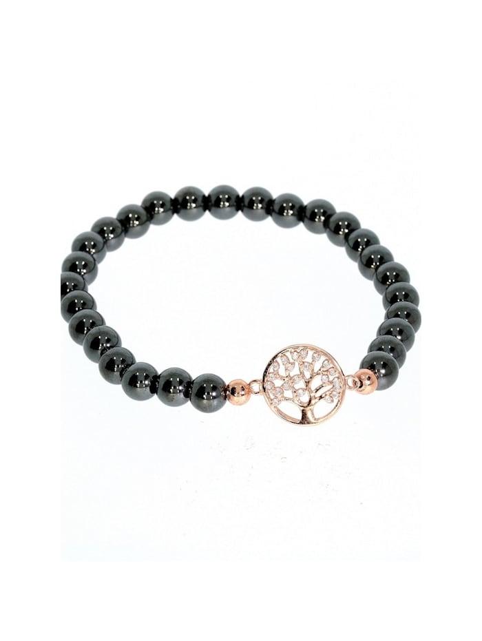 1001 Diamonds Hämatit Armband Baum des Lebens 925 rosé Silber, rosé