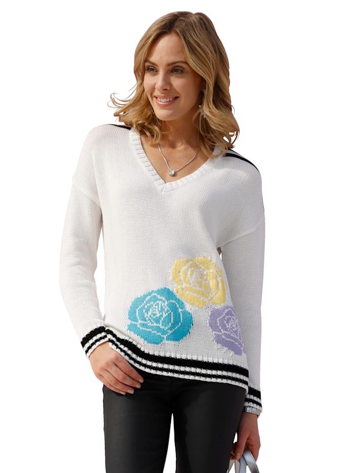 AMY VERMONT Pullover mit Blütenmuster, Ecru/Schwarz/Gelb