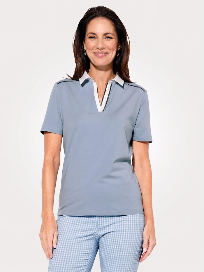 MONA Polo shirt, Light Blue/White/Silver-Coloured