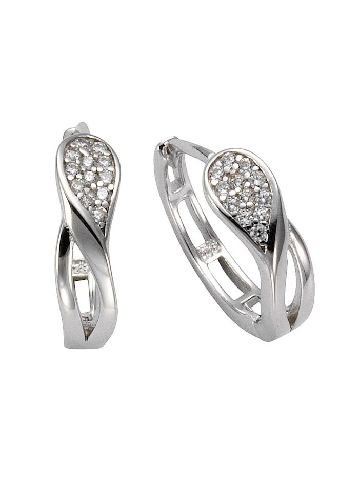 ZEEme Creolen 925/- Sterling Silber Zirkonia weiß 1,4cm Glänzend 925/- Sterling Silber, weiß