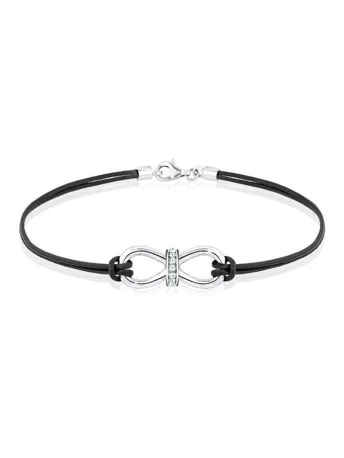Elli Armband Leder Infinity Kristalle Silber, Weiß