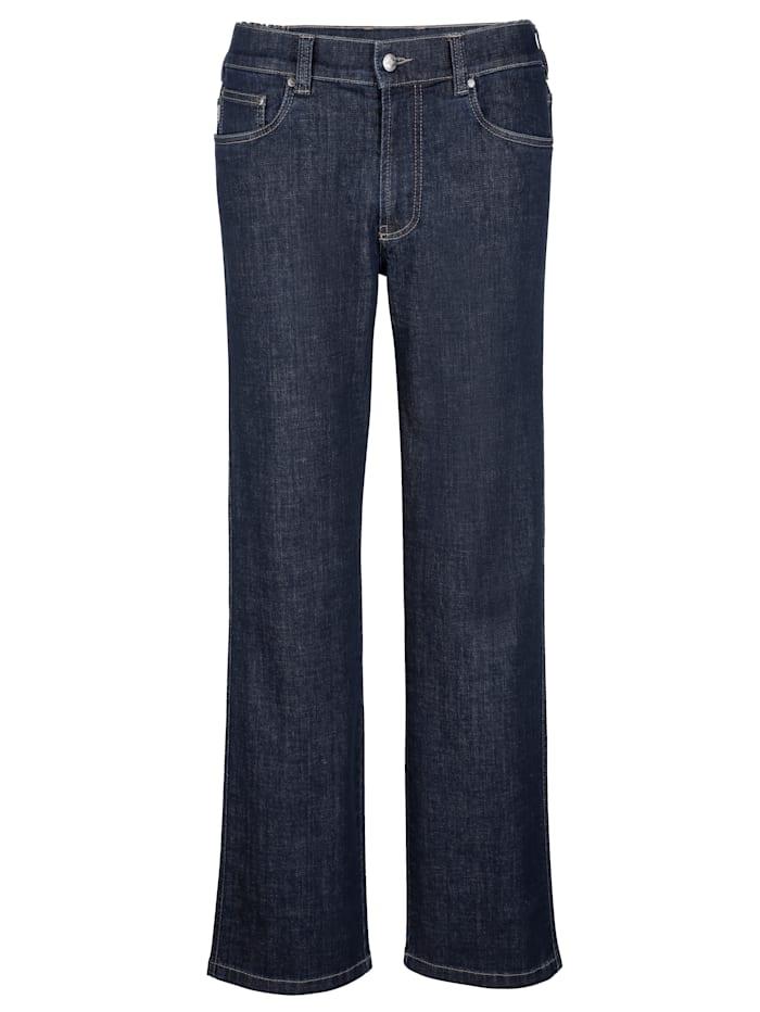 Brühl Jeans met elastische bandinzetten opzij, Dark blue