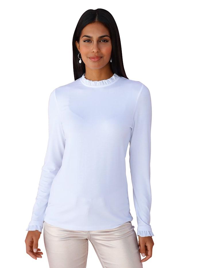 AMY VERMONT Shirt mit Rüschendeko, Weiß