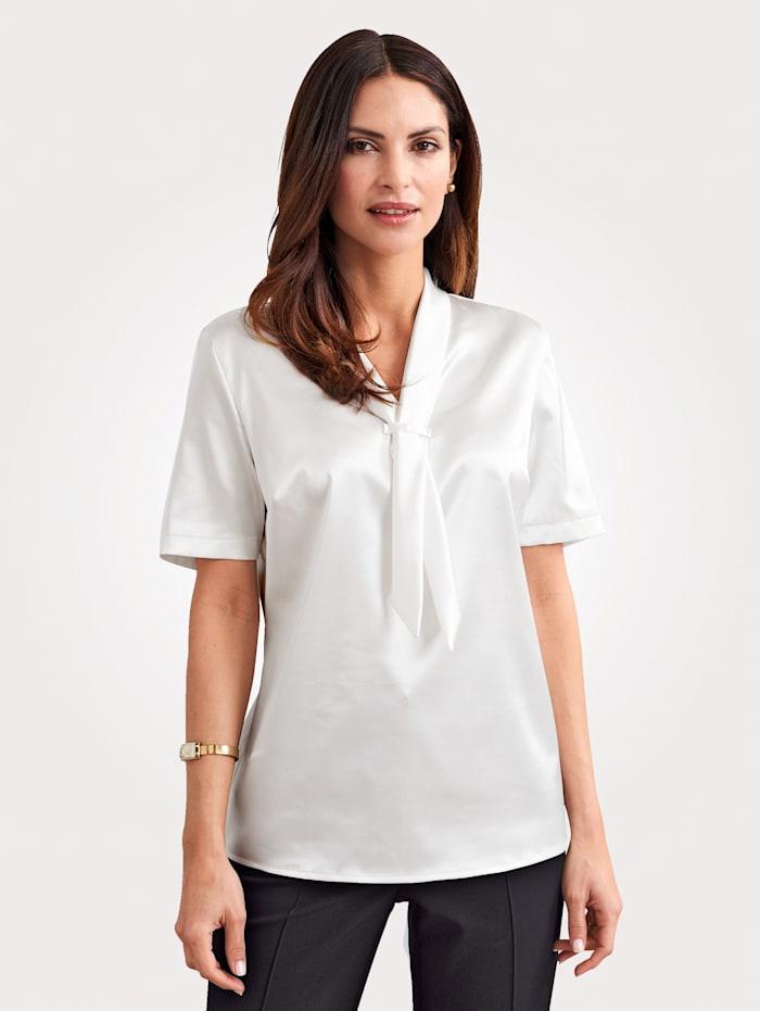 MONA Blouse made from elegant satin, Cream White