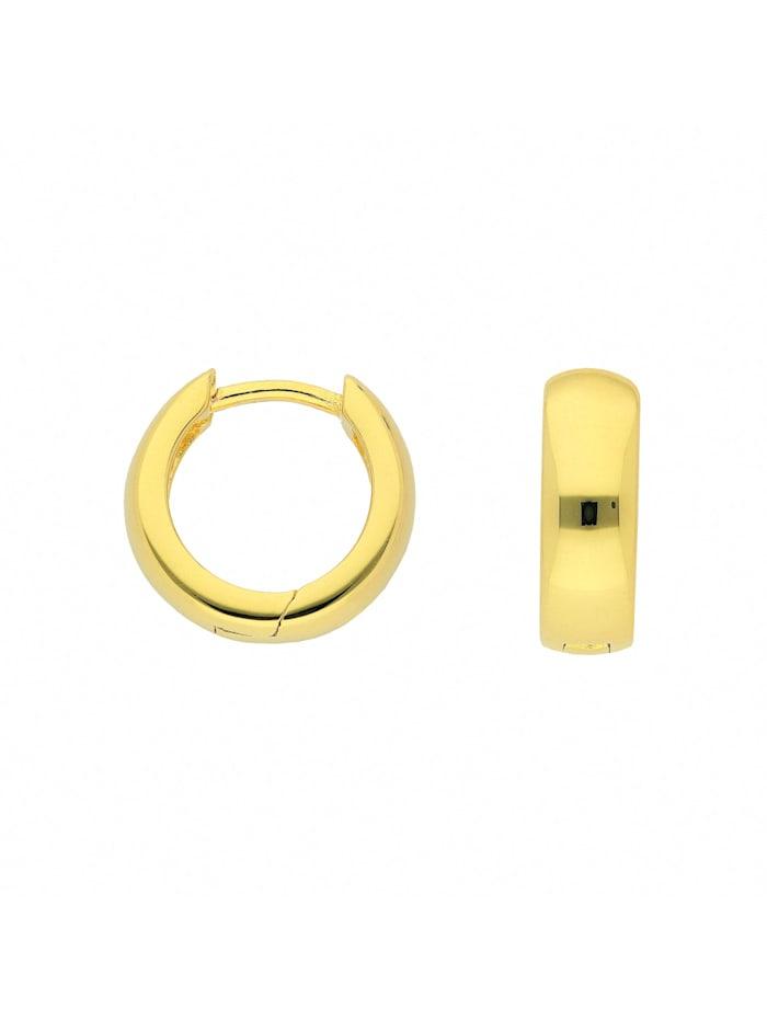 1001 Diamonds Damen Silberschmuck 925 Silber Ohrringe / Creolen Ø 12,5 mm, vergoldet