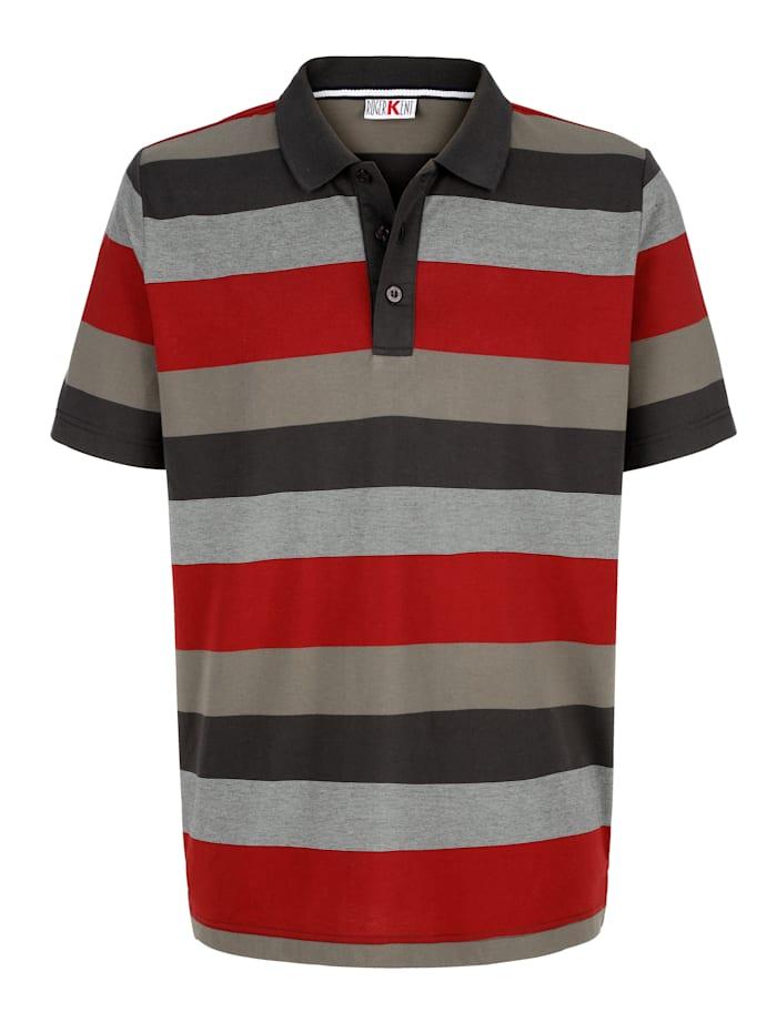 Roger Kent Poloshirt mit Streifenmuster, Oliv/Rot