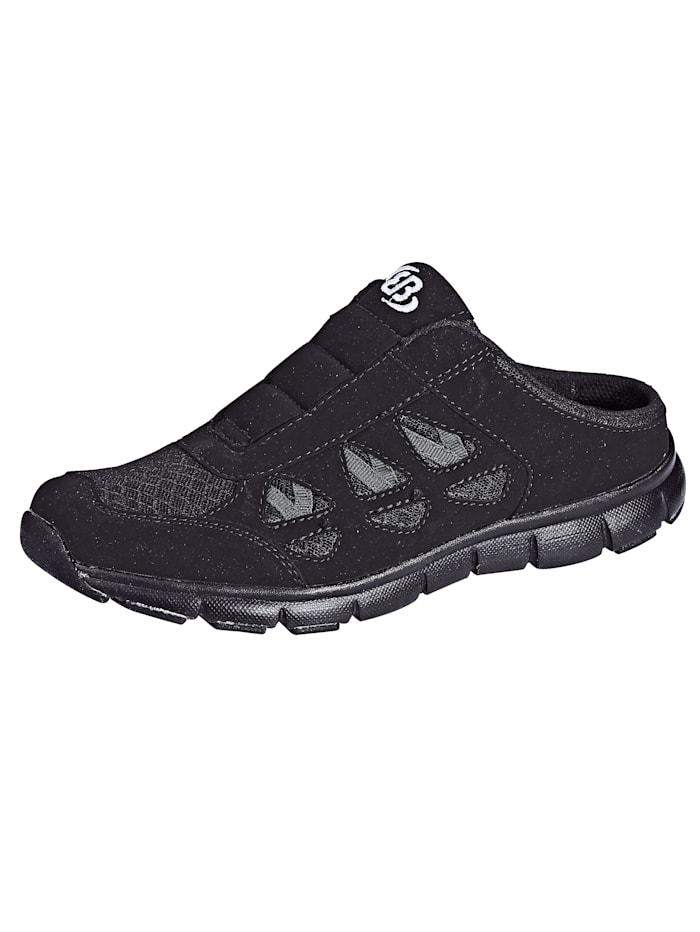 Brütting Sabot obuv s mesh vsadkami, Čierna