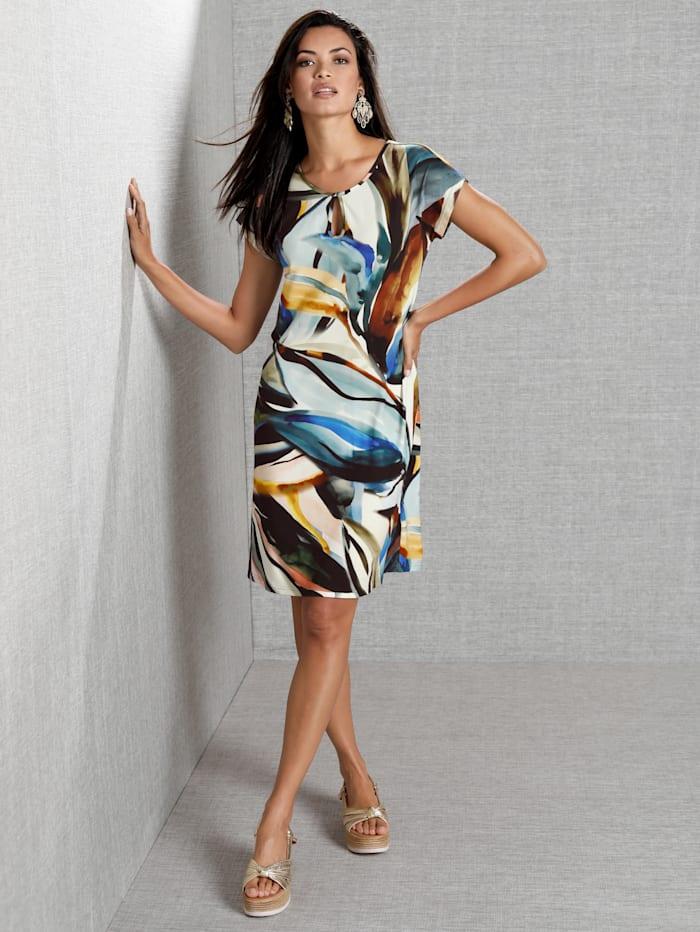 AMY VERMONT Kleid mit Blätterdruck, Off-white/Braun