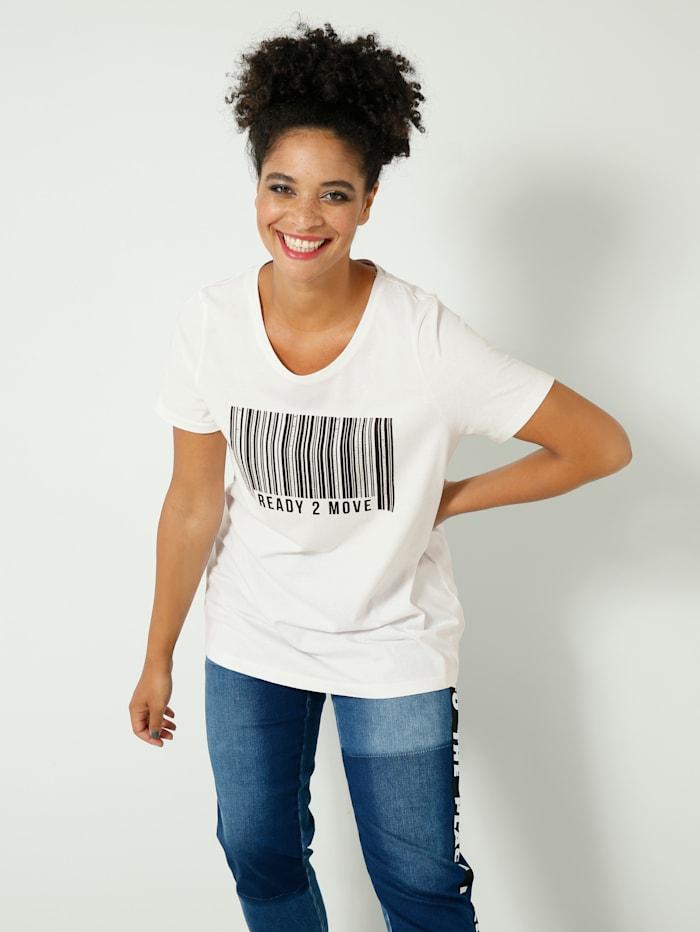 Janet & Joyce Shirt mit Barcode-Print, Weiß/Schwarz