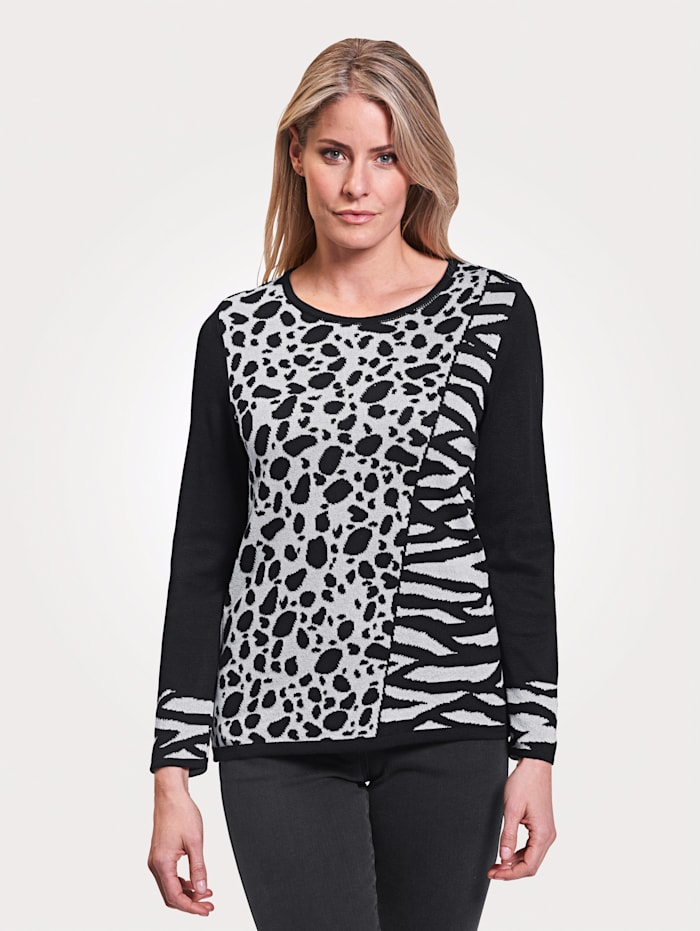 MONA Pullover mit Animal Jacquard, Schwarz/Silberfarben