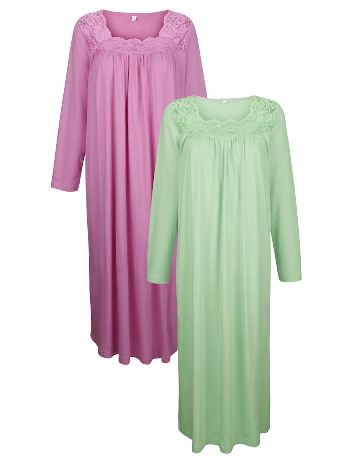 Harmony Chemises de nuit par lot de 2 aux jolis détails en dentelle, Tilleul/Fuchsia