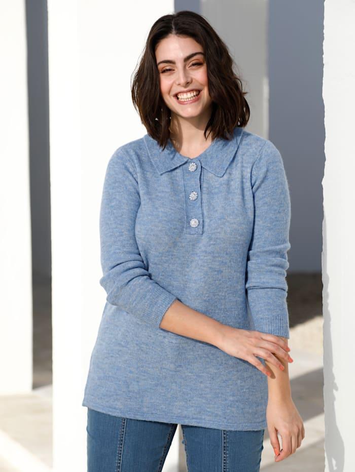 m. collection Pullover mit dekorativen Knöpfen, Blau