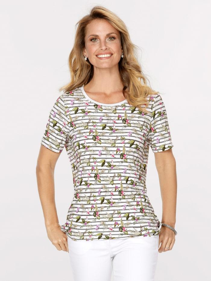 MONA Shirt met mix van dessins, Wit/Olijf/Lavendel