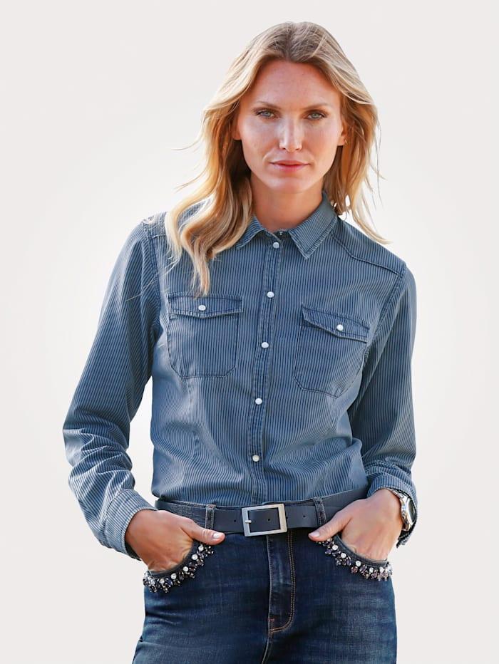 MONA Jeansbluse mit Streifen-Dessin, Hellblau/Marineblau