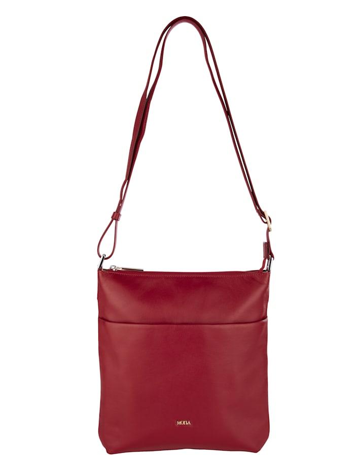 MONA Umhängetasche aus hochwertigem Rindsnappaleder, rot