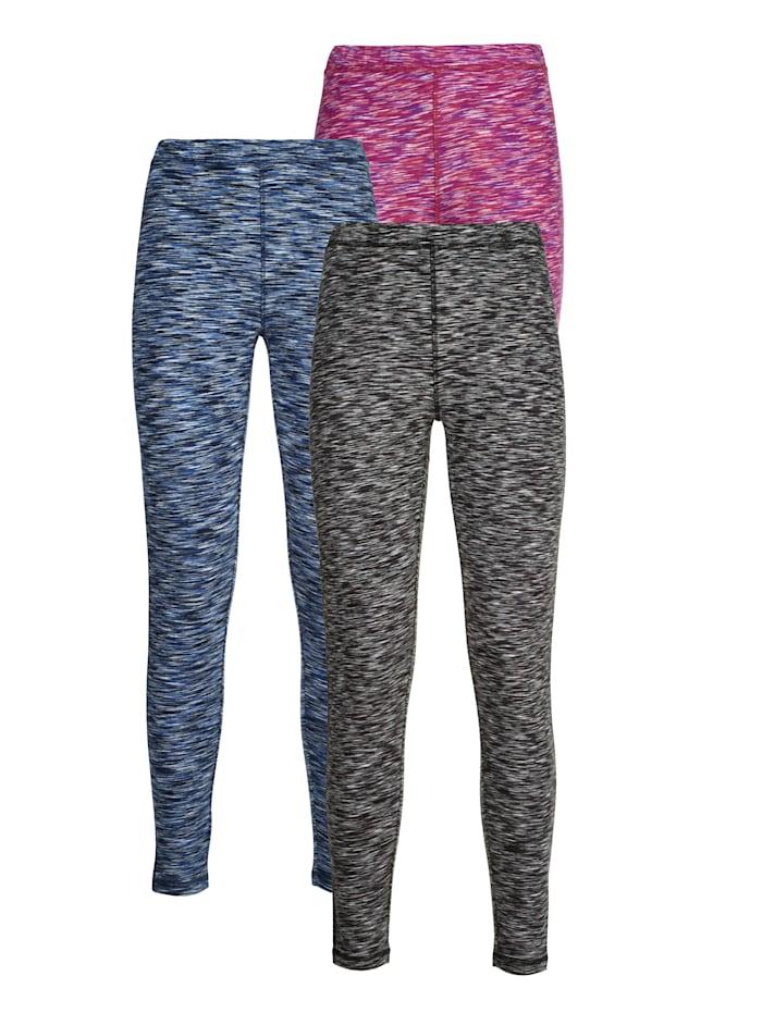 Simone 3 par leggings i melerade färger 3-pack, cerise/blå/svart