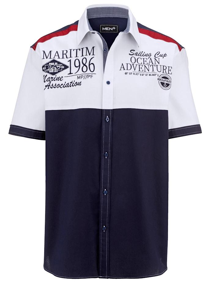 Men Plus Kurzarmhemd mit Kentkragen, Marineblau/Rot/Weiß