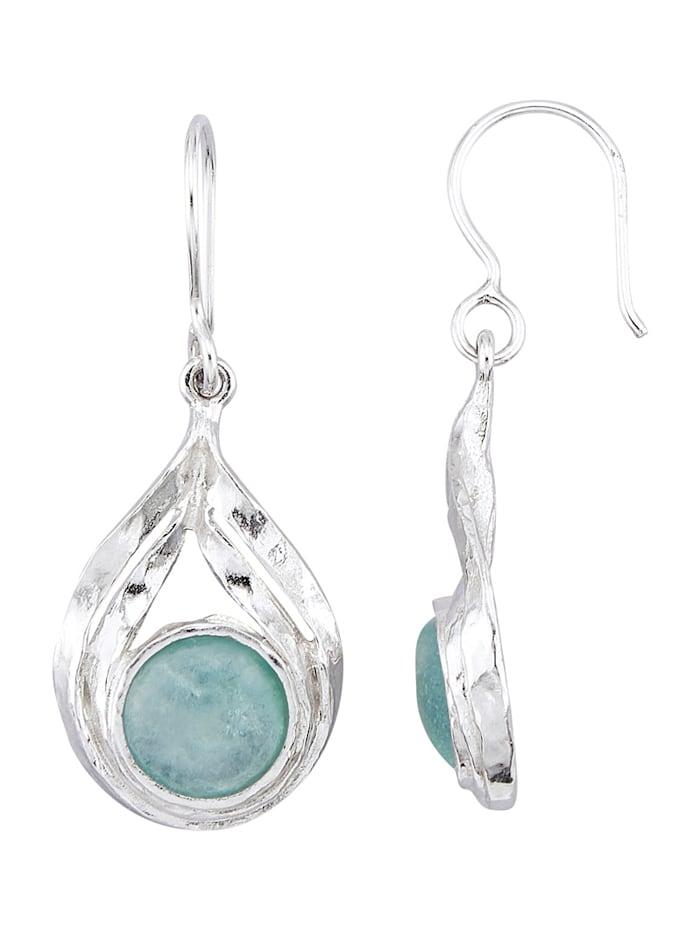 Roman Glass Oorbellen van echt zilver, Zilverkleur