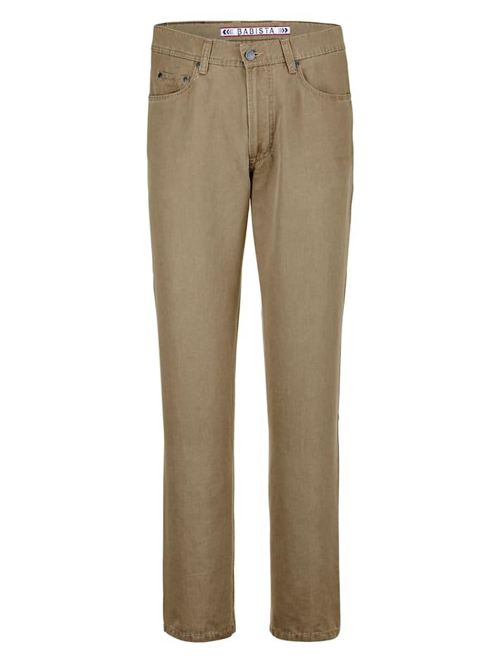 BABISTA Pantalon en lin style sport très chic, Kaki