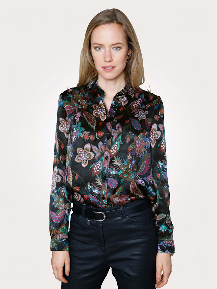 MONA Silk blouse with an eye-catching floral print, Olive/Blue/Black