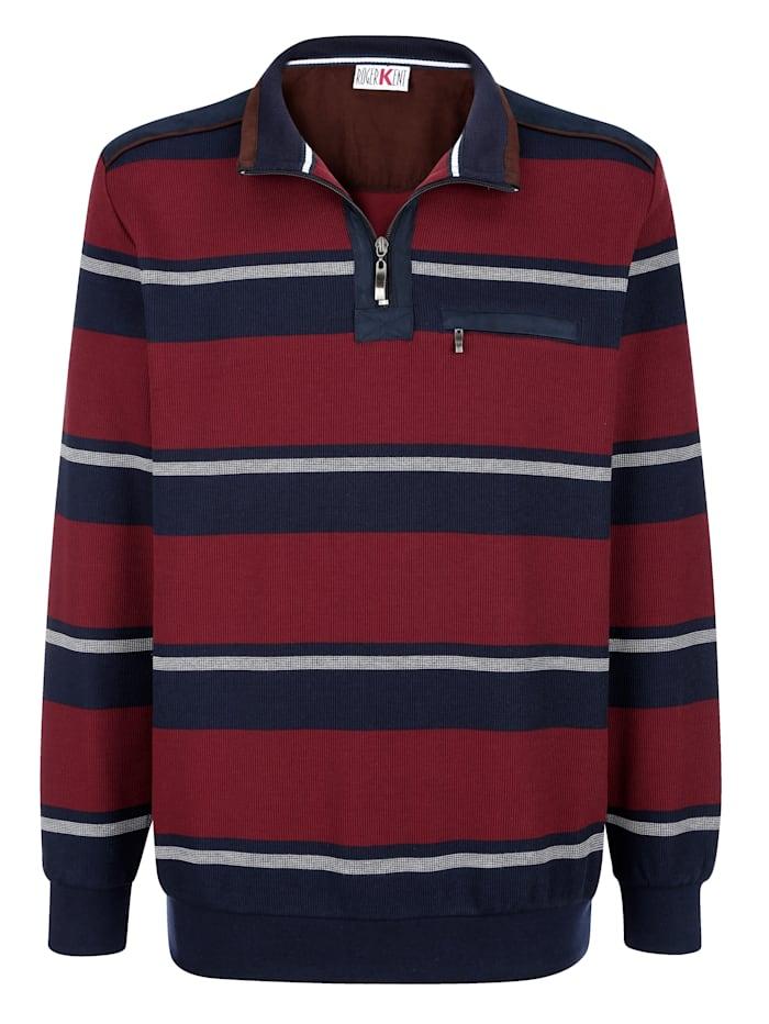 Roger Kent Sweatshirt met ingebreid streepdessin, Marine/Bordeaux