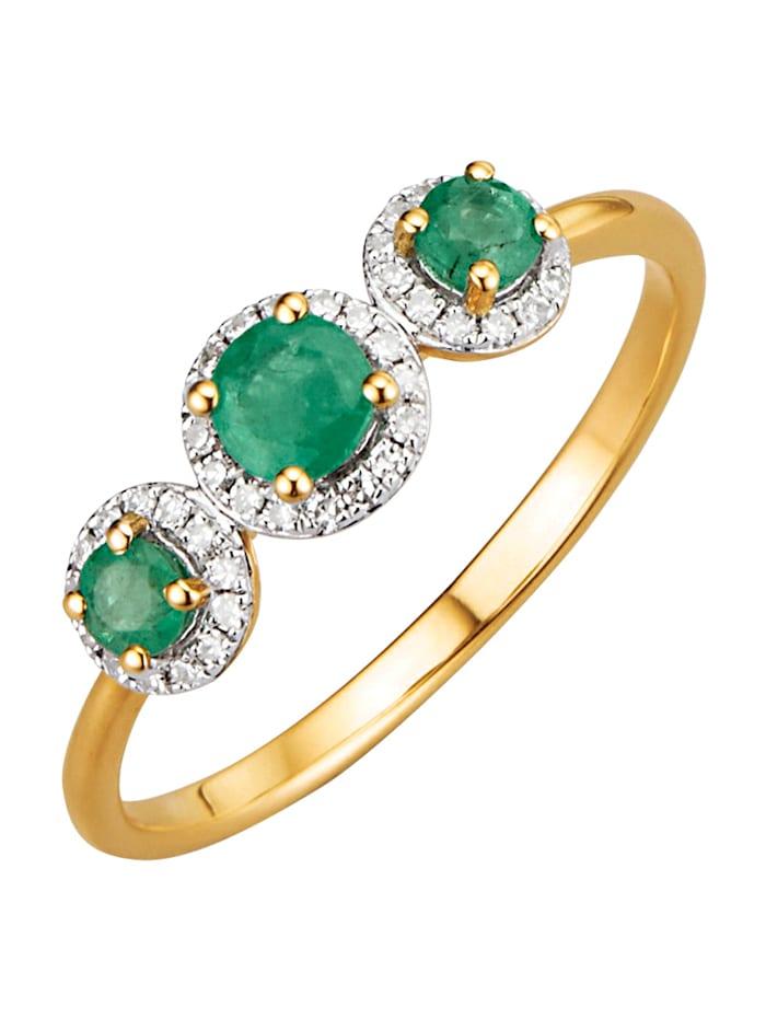 Diemer Farbstein Damenring mit Smaragd und Diamant, Grün