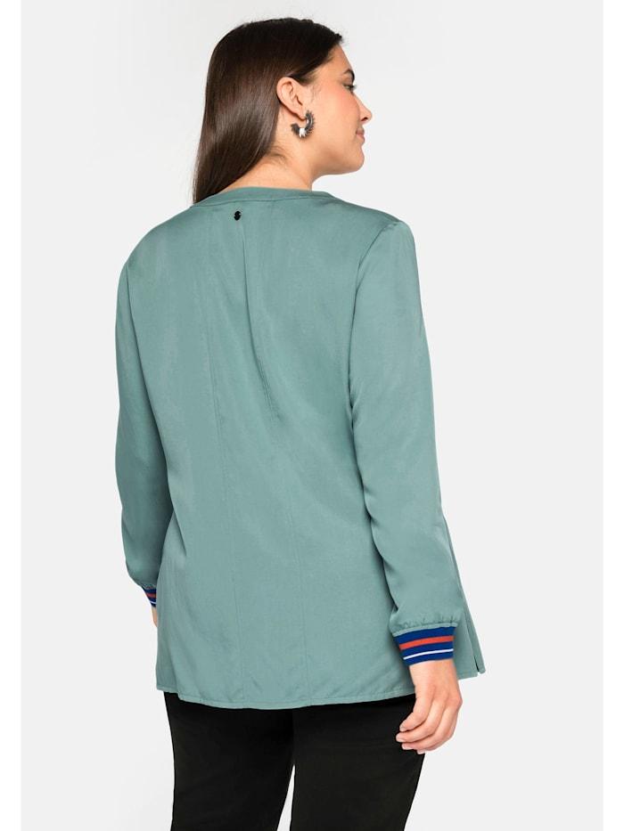 Bluse aus TENCEL™ Lyocell, mit Kontrastbündchen