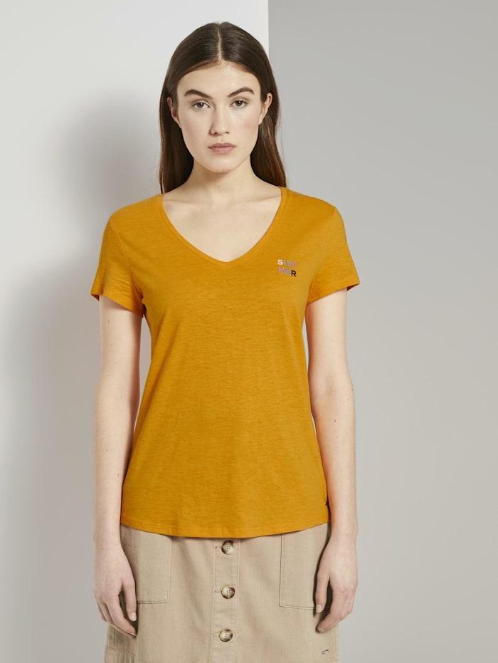 Tom Tailor Denim T-Shirt mit V-Ausschnitt, orange yellow