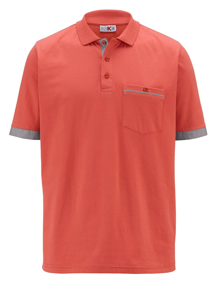 Roger Kent Poloskjorte med kontrastdetaljer, Korall